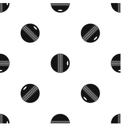 black and white cricket ball pattern seamless vector image