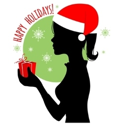 Black silhouette of Santa woman with gift vector image vector image
