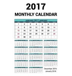 Calendar monthly for 2017 year stationery vector