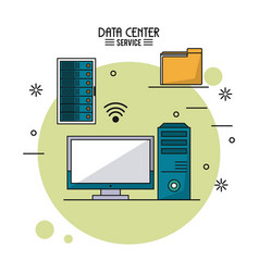 Colorful poster of data center service with rack vector