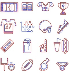 Contour two colored icons for American football vector image