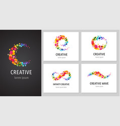 Creative icons logo collection with letters vector