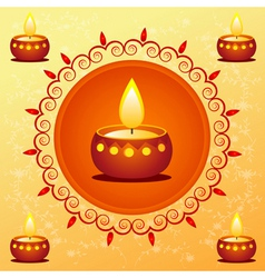 Diwali card decorated with diva vector