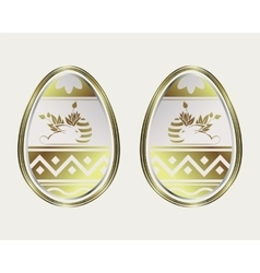 Egg with a gold border and the easter bunny vector