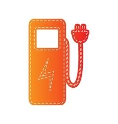 Electric car charging station sign orange vector