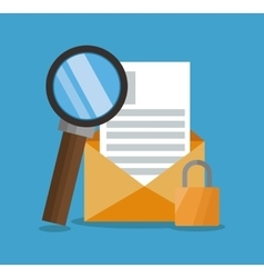 Envelope with lupe and seo design vector
