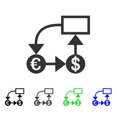 Euro and dollar flow chart flat icon vector