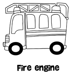 Fire engine with hand draw vector