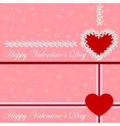 Greeting card heart of flowers Valentines day vector image