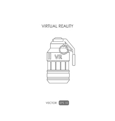 Grenade Outline drawing Gun for virtual reality vector image