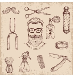 Hand drawn barber elements vector