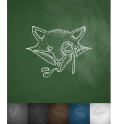 Hipster fox icon hand drawn vector