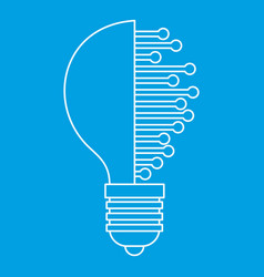 Lightbulb with microcircuit icon outline vector