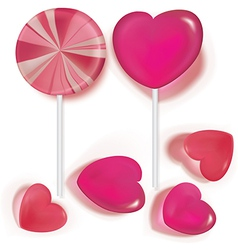 Lollipops and candy heart vector image