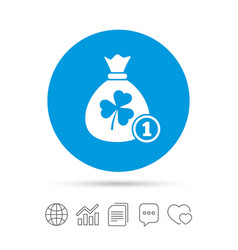 Money bag with three leaves clover sign vector