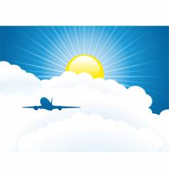 Plane and clouds vector