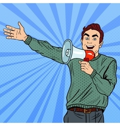 Pop art man with megaphone promoting big sale vector