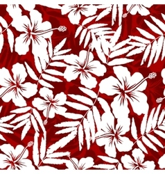 Red and white tropical flowers silhouettes vector image vector image