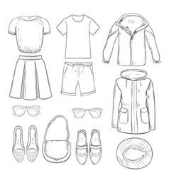 sketch clothes for walk set vector image