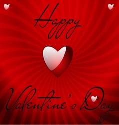 Valentines card with shiny heart and spiral vector image vector image