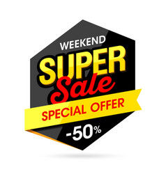 Weekend super sale banner vector