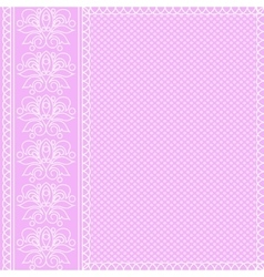 White ornament on pink background vector image vector image