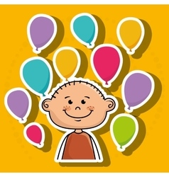 Boy balloons party cartoon vector