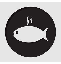 Information icon - grilling fish with smoke vector