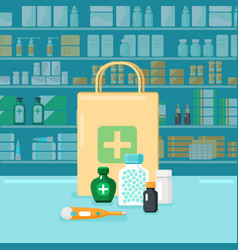 Colored pharmacy concept vector