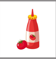 Bottle of ketchup and fresh tomato street fast vector
