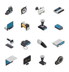Car electronics isometric icons vector
