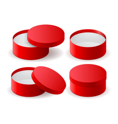 Red box round decoration gift box vector