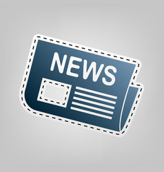 newspaper sign blue icon with outline for vector image