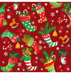 Christmas stockings seamless pattern for holiday vector