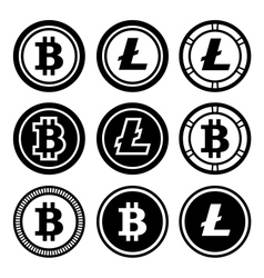 Bitcoin and litecoin icons set vector image