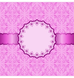 invitation card with pink ornament vector image