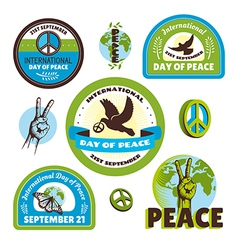 Set of labels for the international day of peace vector