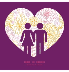 Flowers outlined couple in love silhouettes vector