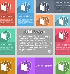 3d cube icon sign set of multicolored buttons vector