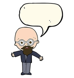 Cartoon genius scientist with speech bubble vector
