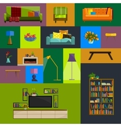 Collection of modern flat furniture icon vector