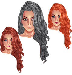 Beautiful girls with long haircuts vector