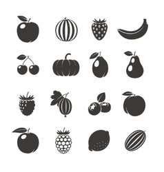 Fruits black icons vector