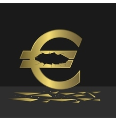Cracked euro sign vector