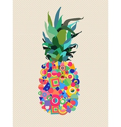 Summer pineapple design with modern color shapes vector