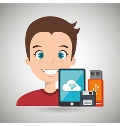 Man with smartphone and storage devices isolated vector