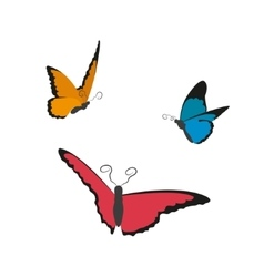 Image of flying butterflies on a white background vector