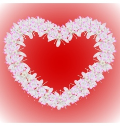 A wreath of flowers in the shape of a heart vector image vector image