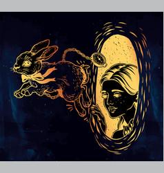 alice in wonderland chasing the white rabbit vector image