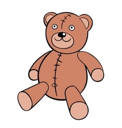 Basic brown teddy bear in solid colors on white vector image